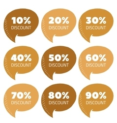 Set of gold percent discount speech bubble vector