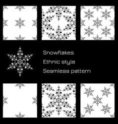 set snowflakes ethnic style white background vector image