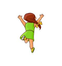 Sketch running girl ranaway kid vector