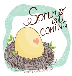 Spring card with nest and egg vector