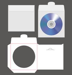 Standard disc envelope mockup with dieline cut vector