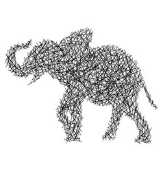 straight lines making elephant body vector image