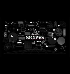 Stylish geometric shapes neo memphis design vector
