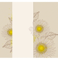 Sunflower vintage banner vector