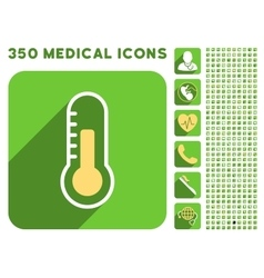 Temperature Icon and Medical Longshadow Icon Set vector image