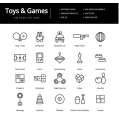 Toys and games line icons vector