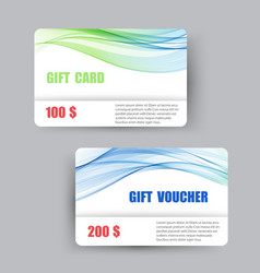 two gift cards with a transparent blue-green vector image