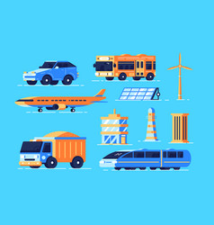 urban transport set vector image