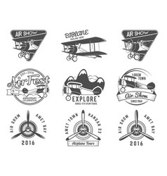 vintage airplane emblems pilot academy fly stamp vector image