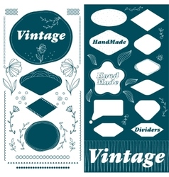 Vintage hand made frame and divider lines set vector