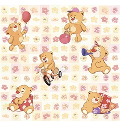 Wallpaper with stuffed bear cubs vector