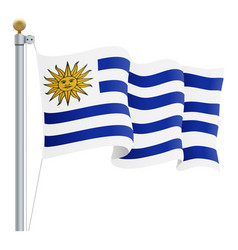 Waving uruguay flag isolated on a white background vector