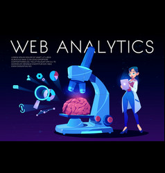 Web analytics landing page brain and seo icons vector