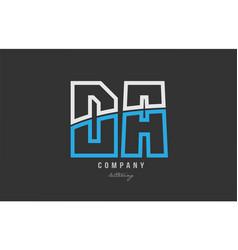 White blue alphabet letter da d a logo icon design vector