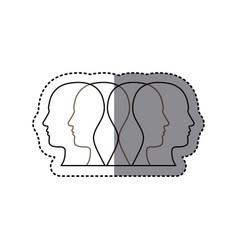 white contour humans icon vector image