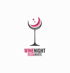wine glass concept wine night moon design vector image