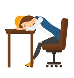 Woman sleeping on table vector image