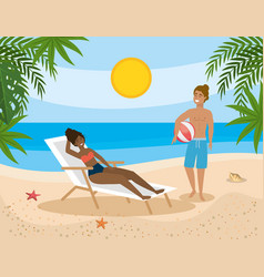 woman taking sun in tanning chair and man with vector image