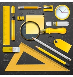 Yellow school supplies vector image
