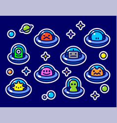 childish stickers set with ufo aliens vector image