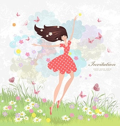 Happy girl on the floral meadow with pink vector image vector image