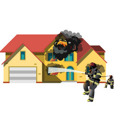house on fire with fireman vector image
