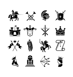 Knight medieval history icons set Middle vector image vector image