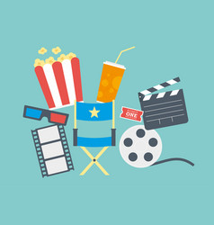 movie popcorn ticket clapperboard and film vector image vector image