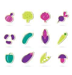 retro vegetable icons vector image vector image