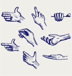 Set of many different hands vector image vector image
