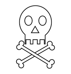 Skull icon outline style vector image