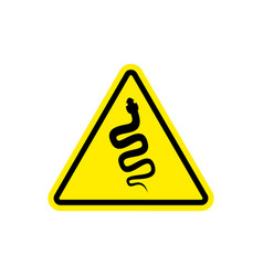 Snake warning sign yellow venomous serpent hazard vector