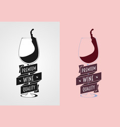 wine label badge or logo concept with wine vector image vector image