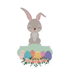 bunny on top of frame with easter eggs and vector image vector image
