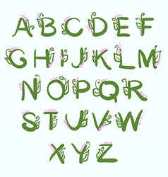 Letters of the alphabet hand-drawn with floral vector image