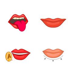 lips icon set cartoon style vector image vector image