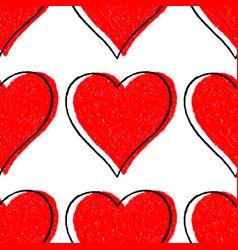seamless pattern red heart with contour vector image vector image