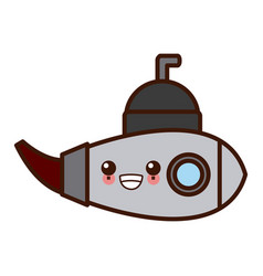 submarine sea ship kawaii cute cartoon vector image vector image
