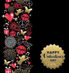 Valentines day greeting card pattern vintage icon vector image