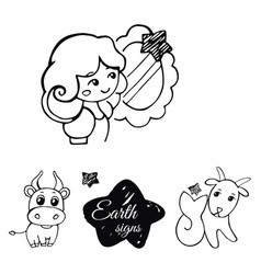 earth signs of the zodiac vector image