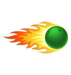 Flaming bowling ball vector image