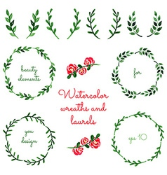 Set of watercolor wreaths and laurels vector image