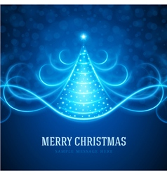Christmas tree from light lines background vector image vector image