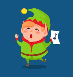 cute elf singing carol songs vector image