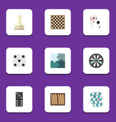 flat icon games set of arrow chess table pawn vector image