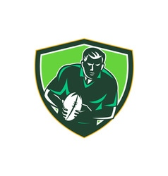 Rugby Player Running Passing Ball Crest Retro vector image vector image