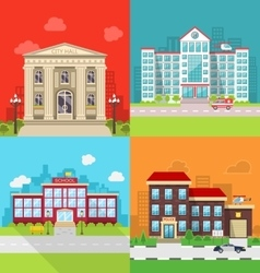 Set Municipal Buildings - City Hall Hospital vector image vector image