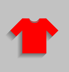 t-shirt sign red icon with vector image