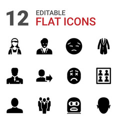 12 avatar icons vector image
