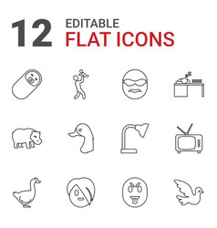 12 cartoon icons vector
